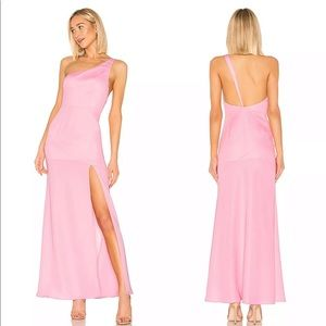 NBD Pink One Shoulder Lapsley Long Maxi Gown Dress